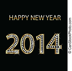 gold, jahr, vektor, 2014, neu , glücklich