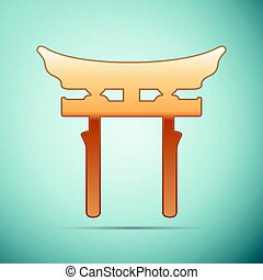 Gold Japan Gate. Torii icon on blue background. Vector...