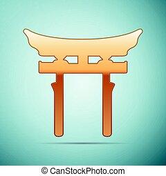 Gold Japan Gate. Torii icon on blue background. Vector Illustration