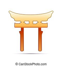 Gold Japan Gate. Torii  icon on white background. Vector Illustration