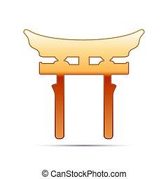 Gold Japan Gate. Torii  icon on white background. Vector Illustration