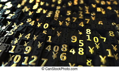 Gold Japanese Yen JPY symbols and numbers on black plates,...