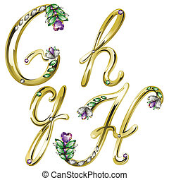 Gold jewelry alphabet letters G,H - Vector Volume shiny gold...