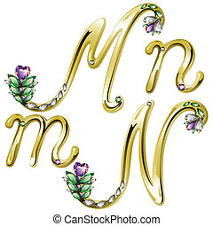 Vector Volume shiny gold alphabet with floral details from diamonds and gems, letters M,N