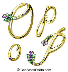 Gold jewelry alphabet letters O,P - Vector Volume shiny gold...