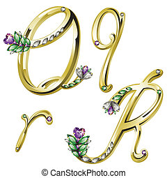 Vector Volume shiny gold alphabet with floral details from diamonds and gems, letters Q,R