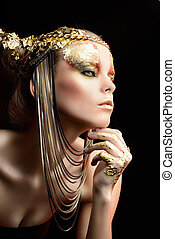 gold jewelry - Art project: beautiful woman with golden...