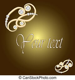 Gold jewelry background with diamond brooch.