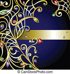 Gold jewelry background with gems