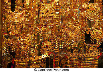 Gold jewelry for sale in the market, Deira, Dubai, United...