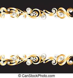 gold jewelry frame - Background with gold jewelry frame