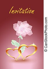 Gold, jewelry hearts with rose. Design for wedding invitations, parties, etc.