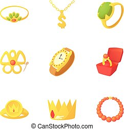Gold jewelry icons set, cartoon style