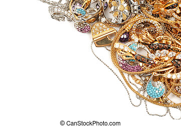 Gold jewelry - White and yellow gold jewelry background