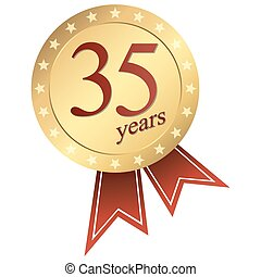 gold jubilee button - 35 years - gold jubilee button 35 ...