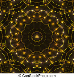gold kaleidoscope light, dark abstract background