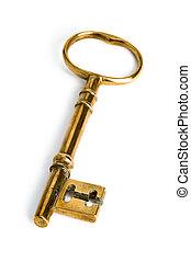 gold key - a golden key on a white background