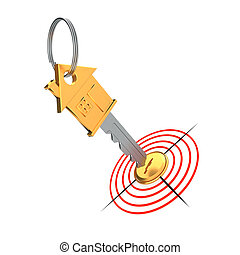 Gold key and target