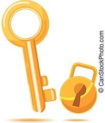 Gold Key Business icon cartoon