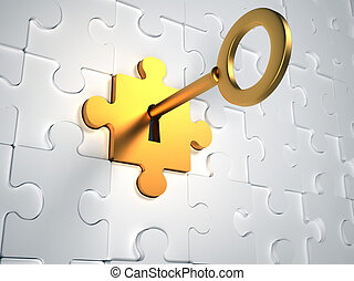 Gold key - Golden key and puzzle pieces - 3d render...
