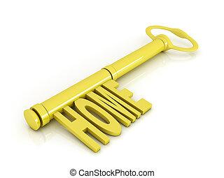 Gold key, home concept illustration