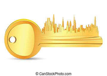 Gold Key House - illustration of golden key for real estate...