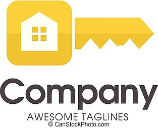 gold key house logo - creative square key of real estate...