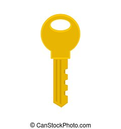 Gold key icon, flat style