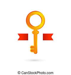 Gold key logo icon design template. Real estate symbol sign.