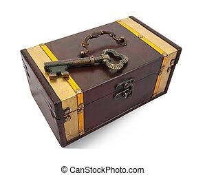 Gold key on treasure chest