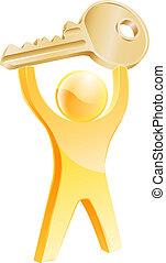 Gold key person concept