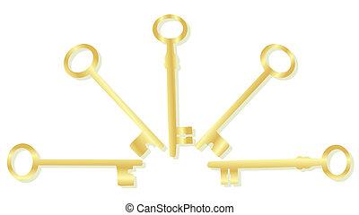 Gold key set vector background concept