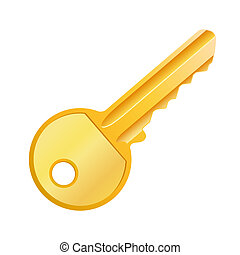 Gold key - Vector illustration of golden key isolated on ...