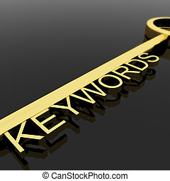 Key With Keywords Text As Symbol For SEO Or Optimization -...