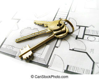 Keys on a home blueprint. Closeup, path