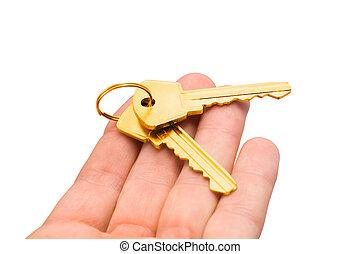 gold keys on a palm