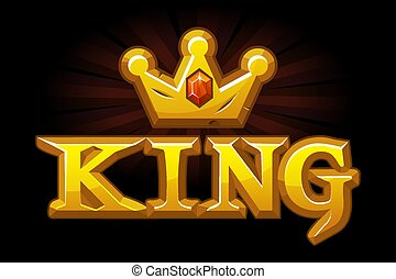 Gold king crown with diamond and logo.