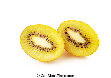Gold kiwi fruit on a white background