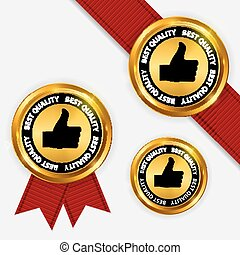 Gold Label Best Quality. Vector Illustration