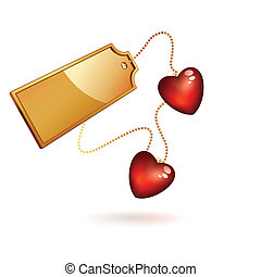 gold label  - two red hearts with gold label