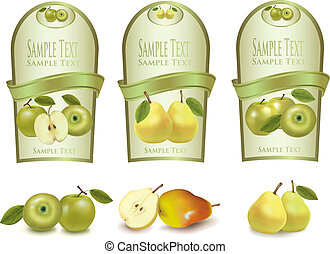 Gold labels with different fruits