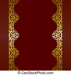 gold lace borders - Template for wedding, invitation or...