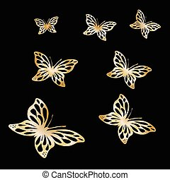 Gold Lace butterfly on black background. Vector...