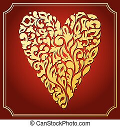 Gold lace ornamental heart. Greeting card - Gold lace...