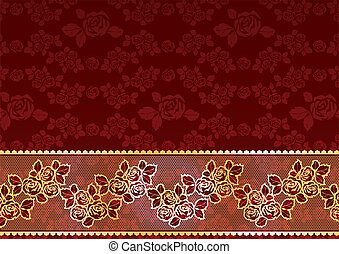 Gold Lace Roses - Gold rose to a dark burgundy background