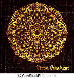 gold lace round pattern and grungy background