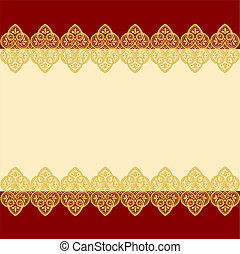 Gold lace - Elegant red and beige background with gold lace