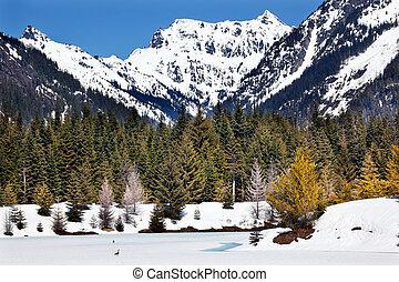 Gold Lake Spring Snow Snoqualme Pass Washington
