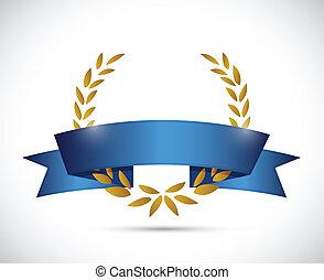 gold laurel and blue ribbon. illustration design over a ...