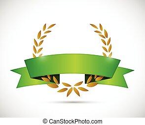gold laurel and green ribbon